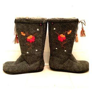 Report Mid Calf Gray Boots
